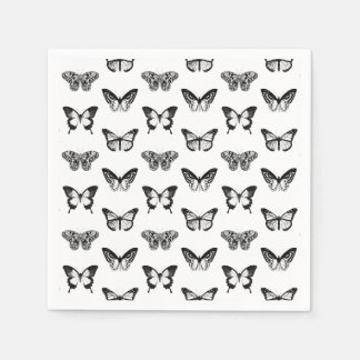 Butterfly sketch, black and white disposable napkins