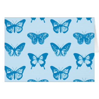 Butterfly sketch, cerulean and sky blue card