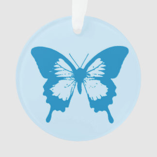 Butterfly sketch, cerulean and sky blue ornament