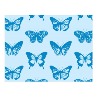 Butterfly sketch, cerulean and sky blue postcard