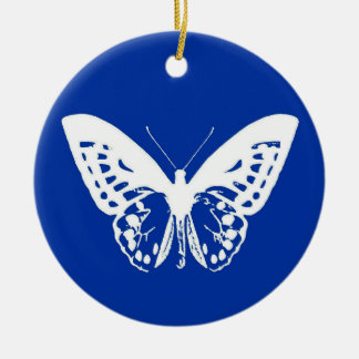 Butterfly sketch, cobalt blue and white ceramic ornament