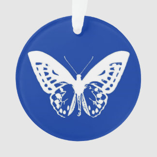 Butterfly sketch, cobalt blue and white ornament