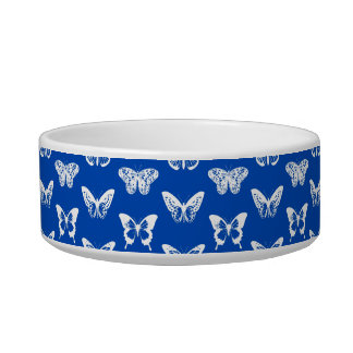 Butterfly sketch, cobalt blue and white pet bowl