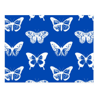 Butterfly sketch, cobalt blue and white postcard