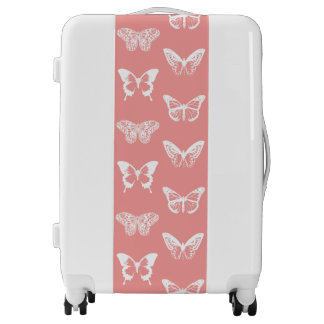 Butterfly sketch, coral pink and white luggage