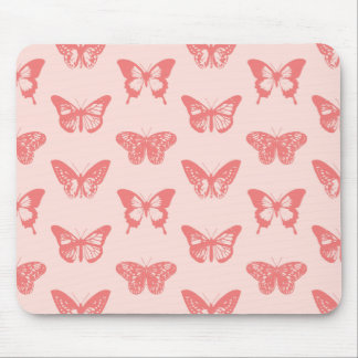 Butterfly sketch, coral pink mouse pad