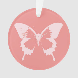 Butterfly sketch, coral pink ornament