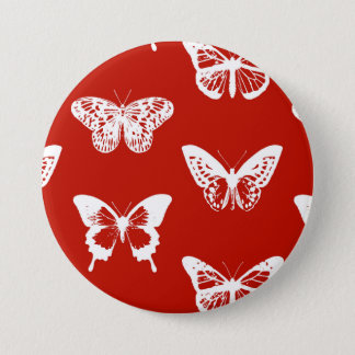 Butterfly sketch, deep red and white pinback button