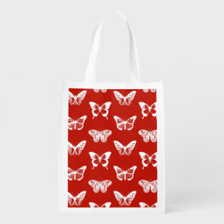 Butterfly sketch, deep red and white reusable grocery bag