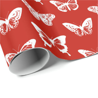 Butterfly sketch, deep red and white wrapping paper
