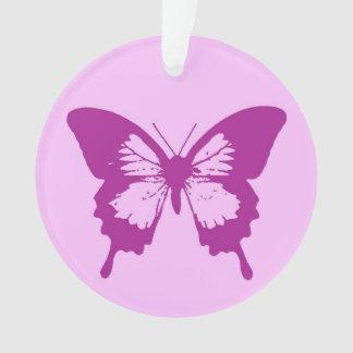 Butterfly sketch, ice pink & amethyst purple ornament