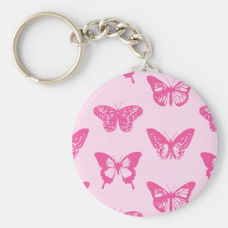 Butterfly sketch, light pink and fuchsia keychain