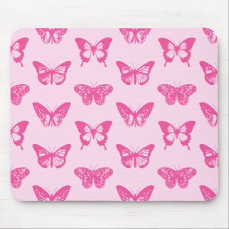 Butterfly sketch, light pink and fuchsia mouse pad