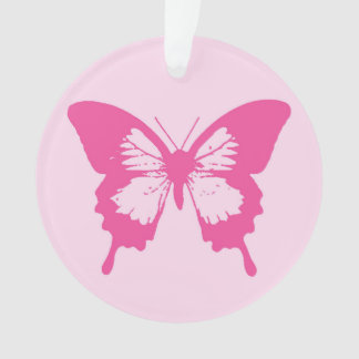 Butterfly sketch, light pink and fuchsia ornament