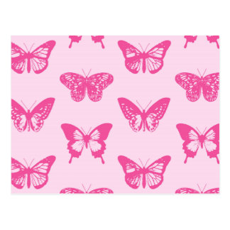 Butterfly sketch, light pink and fuchsia postcard