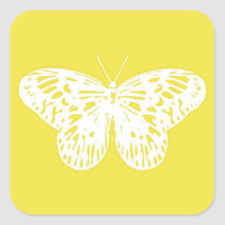 Butterfly sketch, mustard yellow and white square sticker