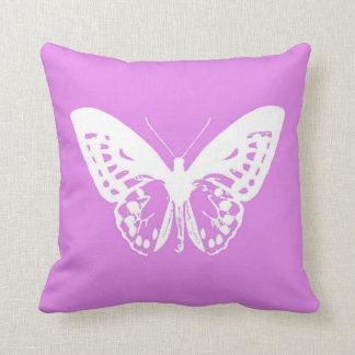 Butterfly sketch, orchid and white throw pillow