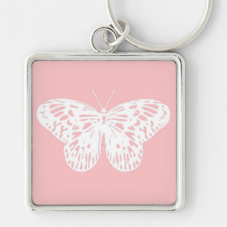 Butterfly sketch, shell pink and white keychain