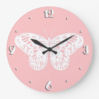 Butterfly sketch, shell pink and white large clock