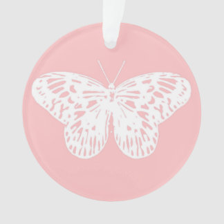Butterfly sketch, shell pink and white ornament