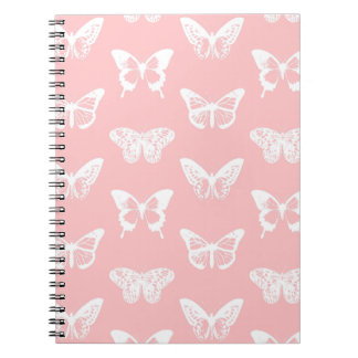Butterfly sketch, shell pink and white spiral notebook