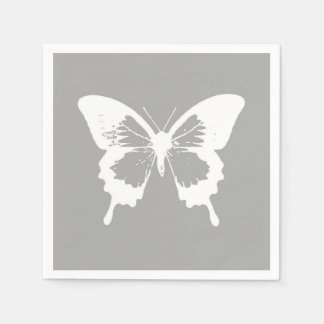 Butterfly sketch, silver grey and white disposable napkins