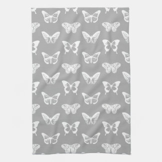 Butterfly sketch, silver grey and white towel
