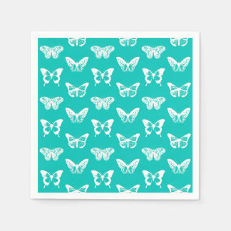 Butterfly sketch, turquoise and white paper napkins