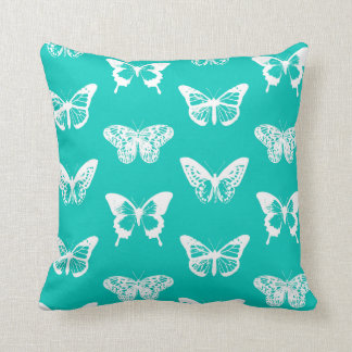 Butterfly sketch, turquoise and white throw pillow