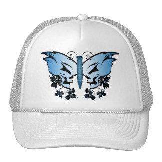 Butterfly Skull Blue Trucker Hat