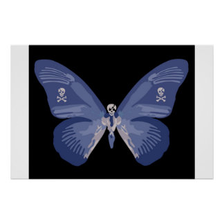 Butterfly Skull in Blue Poster