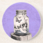 Butterfly skull in jar. Lost thoughts. Beverage Coaster
