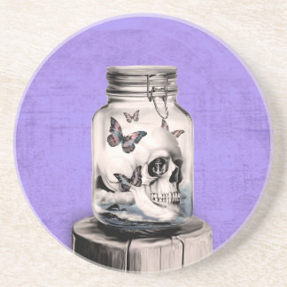 Butterfly skull in jar. Lost thoughts. Beverage Coasters