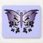 Butterfly Skull Purple Mouse Pad