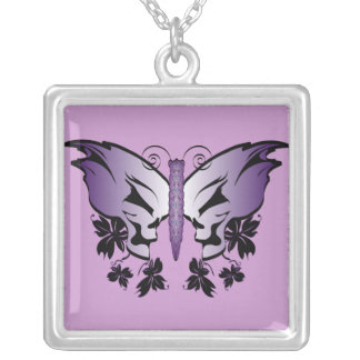 Butterfly Skull - Purple Silver Plated Necklace