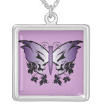 Butterfly Skull - Purple Square Pendant Necklace
