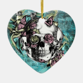 Butterfly smoke skull in blue pink and yellow. Double-Sided heart ceramic christmas ornament
