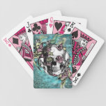 Butterfly smoke skull in blue pink and yellow. bicycle poker cards