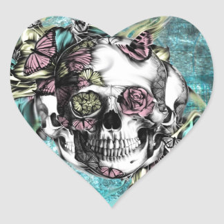 Butterfly smoke skull in pink, yellow and blue heart sticker