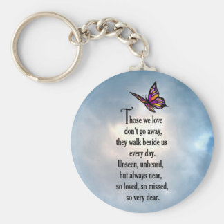 "Butterfly ""So Loved"" Poem Basic Round Button Keychain"