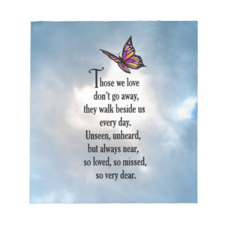 """Butterfly """"So Loved"""" Poem Memo Notepads"""