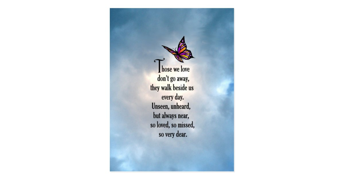 Butterfly Quot So Loved Quot Poem Postcard Zazzle Com