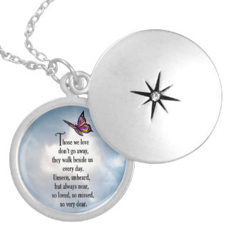 """Butterfly """"So Loved"""" Poem Round Locket Necklace"""
