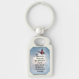 "Butterfly ""So Loved"" Poem Silver-Colored Rectangular Metal Keychain"