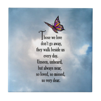 "Butterfly ""So Loved"" Poem Small Square Tile"