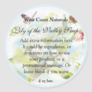 Butterfly Soap and Bath Products Label Classic Round Sticker