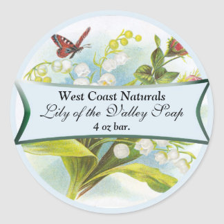 Butterfly Soap Label Classic Round Sticker