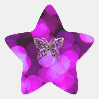 butterfly solo - violet light background star sticker