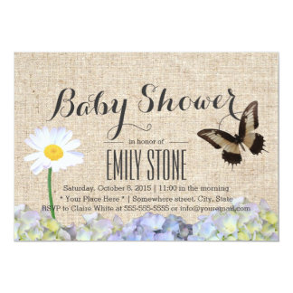 Butterfly & Spring Flowers Burlap Baby Shower 5x7 Paper Invitation Card