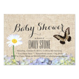 Butterfly & Spring Flowers Burlap Baby Shower Invitations
